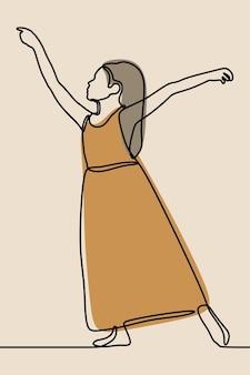 Girl dance wearing dress oneline continuous line art