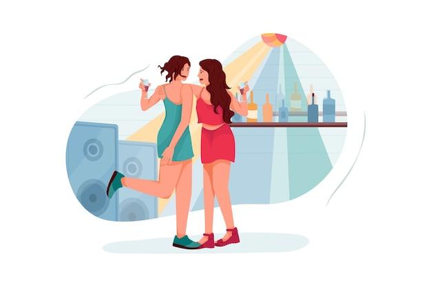 Девушка танцует в партии иллюстрация