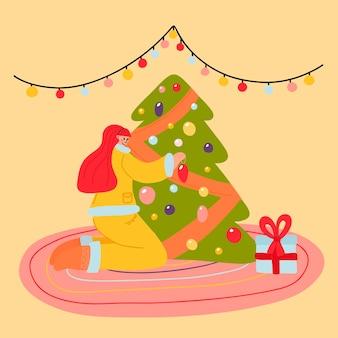 Девушка украшает елку елочными игрушками и гирляндой в плоском стиле