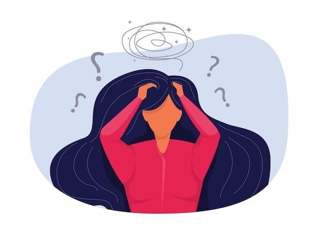 외로운 불행한 우울한 벡터 일러스트레이션눈물 개념을 느끼는 것에 대한 소녀 우울증