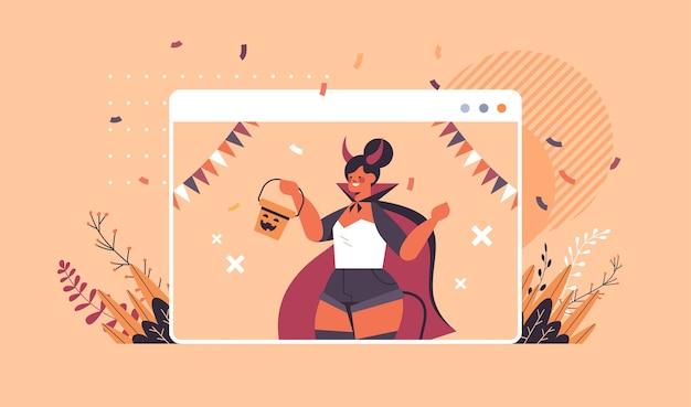 Girl in devil costume celebrating happy halloween holiday self isolation online communication concept web browser window portrait horizontal vector illustration