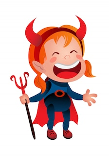 Girl in devil costume laughing line icon. kid, demon, satan. halloween concept.