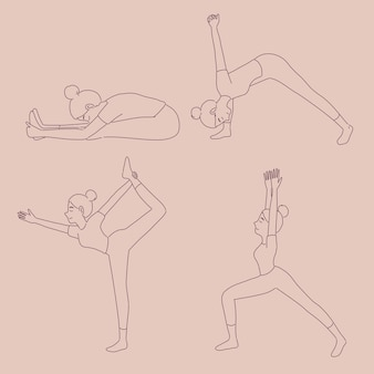 Girl in different yoga poses in line style