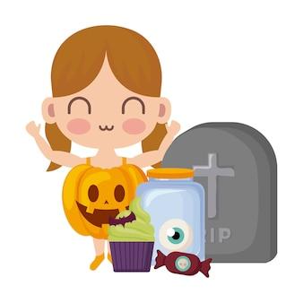 Girl disguised as a pumpkin in halloween