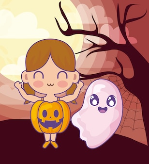 Girl disguised of pumpkin with ghost