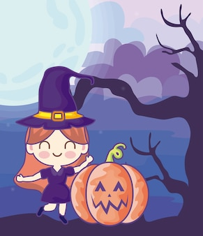 Girl disguised of witch on halloween scene