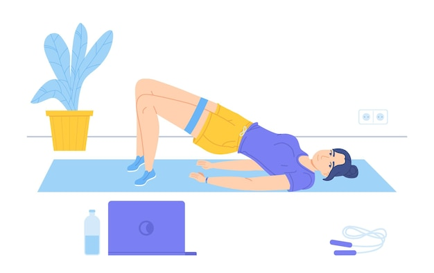 소녀는 노트북에서 스포츠 코치를 보는 동안 매트에 누워 골반 리프트를 수행
