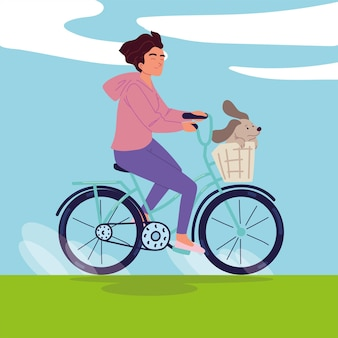 Girl and dog on bike
