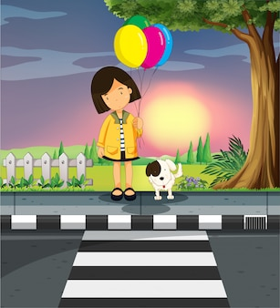 Girl and dog crossing the road
