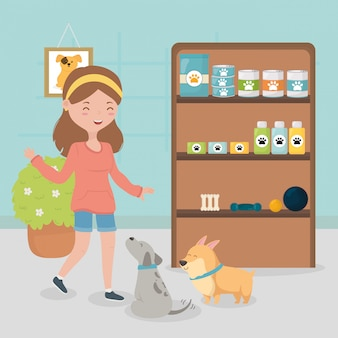 Girl and dogs in the vet with food medicine shelf pet care