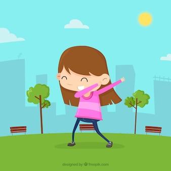 ダビング運動をしている少女