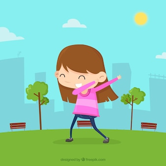 Girl doing dabbing movement