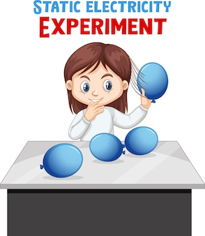 A girl doing electrostatic experiment with balloons