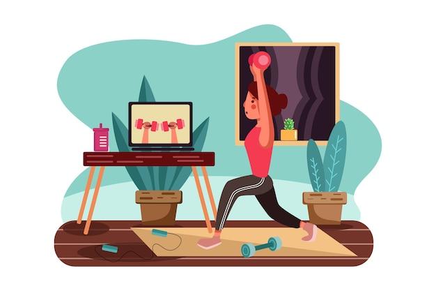 Девушка делает упражнения под руководством онлайн-учителей.