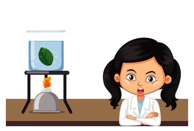Девушка делает эксперимент на листе