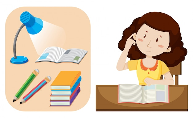 Девочка делает домашнее задание на столе