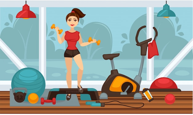Girl doing physical exercises with dumbbells in gym