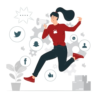 Girl doing public relations while jumping and holding megaphone concept illustrated