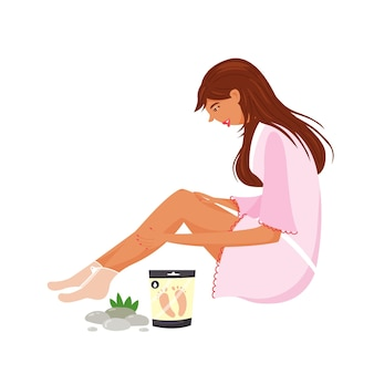 Girl doing spa foot care. moisturizing the skin with a foot mask. cosmetology procedure for women. modern vector