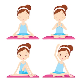 Girl doing yoga exercise, activity for healthy