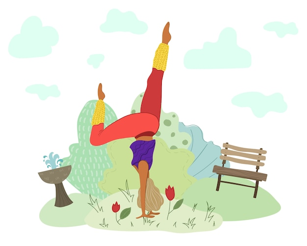 Girl doing yoga in park, woman in sport, healthy lifestyle
