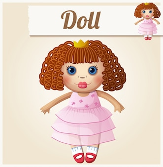 Girl doll. cartoon vector illustration