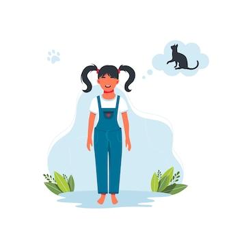 Девушка мечтает о кошке. ребенок желает получить в подарок питомца. персонаж счастливой улыбающейся малышки. малыш ребенок выражение векторные иллюстрации. векторная иллюстрация