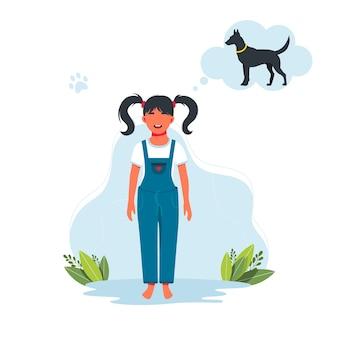 Девушка мечтает о собаке. ребенок желает получить в подарок питомца. персонаж счастливой улыбающейся малышки. малыш ребенок выражение векторные иллюстрации. векторная иллюстрация