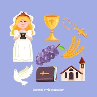 Ragazza vestita in comunione con elementi religiosi