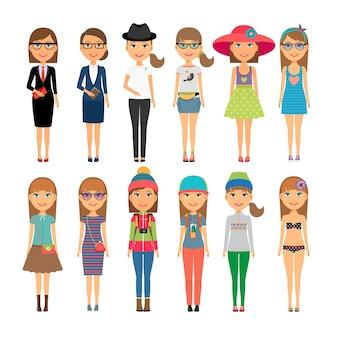 さまざまな衣装を着た女の子。カラフルな服を着たキューティー漫画のファッションの女の子。ベクトルイラスト