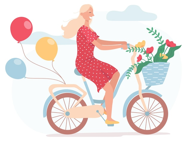 Girl dressed in red dress riding bicycle with balloons and with wicker basket full of spring flowers