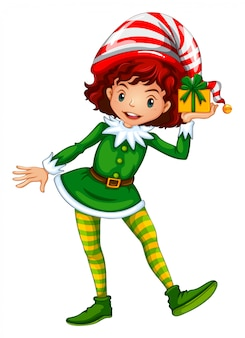 Girl dressed up in elf outfit holding present box