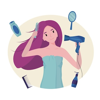 The girl dries her hair with a hair dryer the concept of cleanliness freshness and selfcare daily routine