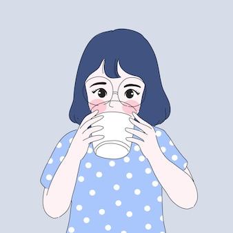 女の子はミルクを飲むイラスト