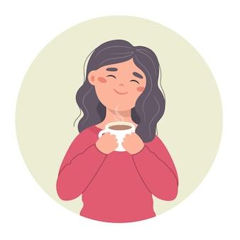 彼女の手にマグカップを持つ少女の手描きのイラストのコーヒーを飲む女の子アバターベクトル
