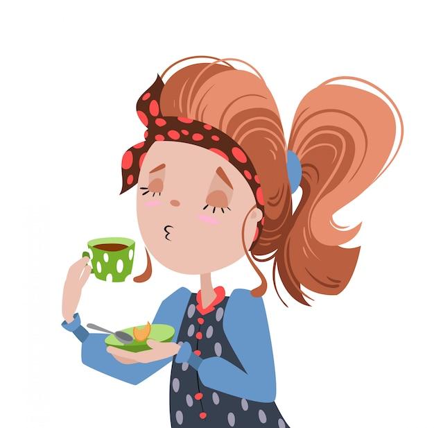 Девочка пила кофе.