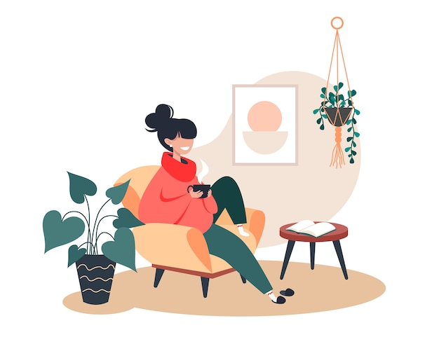 Girl drinking hot tea while sitting in armchair, stay home, cozy room interior