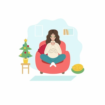 The girl drinks coffee sitting on the couch. a young woman meets the new year at home. the concept of the celebration of new year and christmas. vector character in flat style.