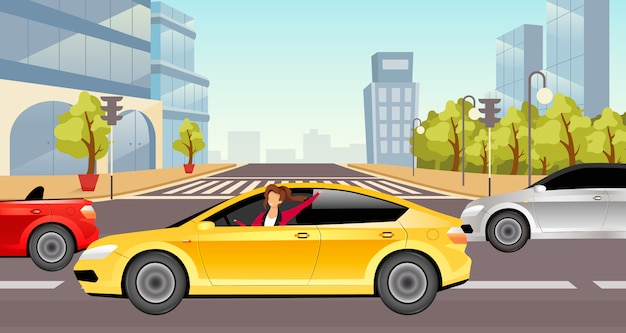 Girl driving sedan  illustration
