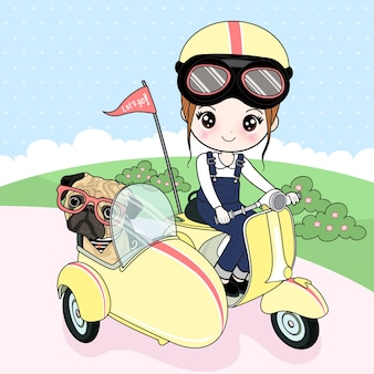 Girl driving a vespa with a pug dog