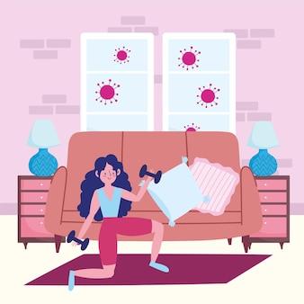自宅で女の子のダンベル