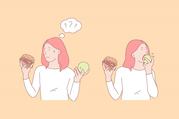 Girl eating apple and burger illustration