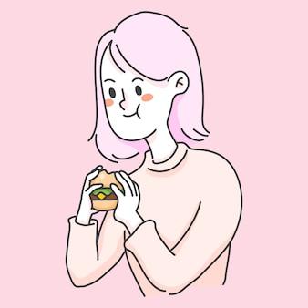 Girl eating burger junkfood cute people illustration