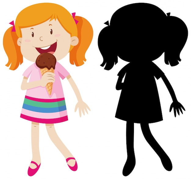 Girl eating ice cream in colour and silhouette Free Vector