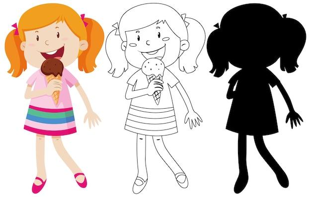 色とシルエットとアウトラインでアイスクリームを食べる女の子