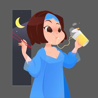 Девочка ест лапшу