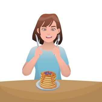 Girl eating pancake illustration