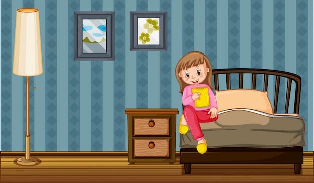 Девушка ест закуски в спальне