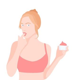 Girl eating a tasty sweet cake