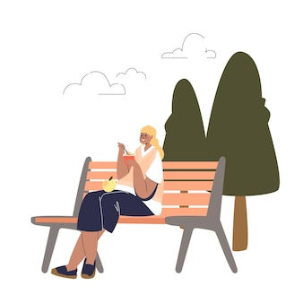 공원에서 벤치에 앉아 요구르트와 과일을 먹는 여자